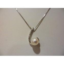 Miluna - Collana Oro Bianco 18Kt Perla 6,5-7 Diamanti  - PCL729