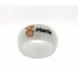 DaLù - Anello in Ceramica Bianca Personalizzabile Con Nome Bimba in Oro Giallo 18kt e Diamante - AN751