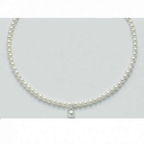 Miluna - Collana in Oro e Diamanti con Perle Le Collane Perla Portafortuna - PCL4048