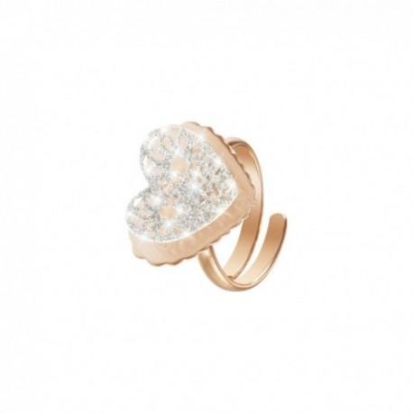 Stroili - Anello Cuore In Ottone Rosè E Glitter - 1627609