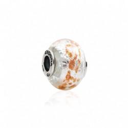 Tedora  - Charm in Argento e Vetro di Murano White Lush  - MG248