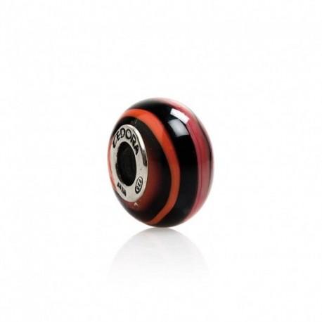 Tedora  - Charm in Argento e Vetro di Murano Osmosi Rosso Nera -  MG221