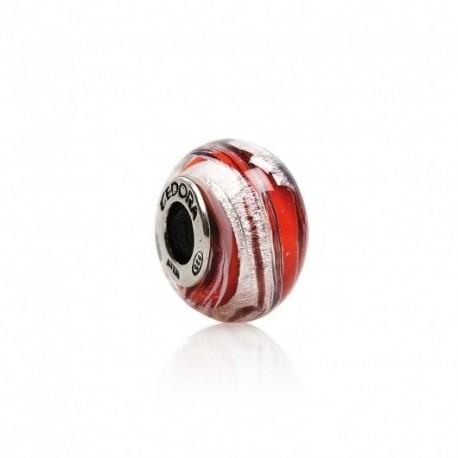 Tedora - Charm in Argento e Vetro di Murano Rosso Ghiaccio - MG206